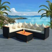 vidaXL Set canapea grădină, 21 piese, poliratan, blat WPC, negru