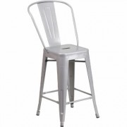 Flash Furniture High Back Metal Counter Stool - 24Inch H, Silver, Model CH3132024GBSIL