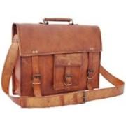 """echo 9""""Genuine Leather Handmade Satchel Messenger Laptop Unisex Shoulder bag Office bag for men & women daily use. Messenger Bag(Brown, 9 L)"""