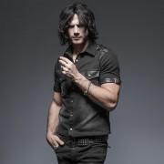 Punk Rave Stuntman Buckled Washed Short Sleeved Shirt Black Y-638