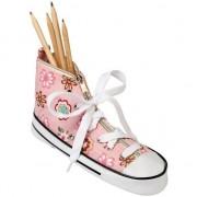 Merkloos Pennen/potloden etui sneaker roze 24,5 cm