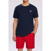 Atlantic Sailor Cap Pyjama Set Short Sleeved T Shirt & Shorts Loungewear Navy Blue NMP-313