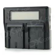 """3.1"""" LCD Dual de Baterias LP-E6 Cargador para Canon EOS 5D Mark II? 60D / 6D / 7D / 5D Mark III - Negro"""