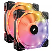 FAN, Corsair HD140 RGB LED High Performance, 140mm PWM, Twin Pack static pressure Fan with Controller (CO-9050069-WW)
