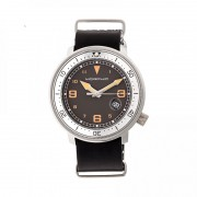 Morphic M58 Series Nato Leather-Band Watch w/ Date - Silver/Black MPH5801