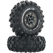 Duratrax Showdown 2.2 inch RC Rock Crawler Tires with Foam Inserts, C3 Super Soft Compound, High Traction, Mounted on Black Chrome wheels, (Set of 2)