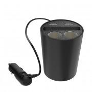 Devia Baymax Dual USB Car Charger - зарядно за кола за поставяне в отвора за чаша, с два USB изхода, място за телефон и два изхода за запалка