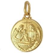 medaglia religiosa in oro giallo - battesimo e fonte battesimale 14 mm