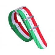 AUTULET Correa de reloj de nailon balístico de 20 mm, color verde, blanco, rojo, rojo