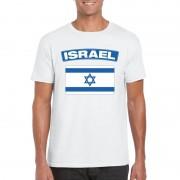 Bellatio Decorations T-shirt met Israelische vlag wit heren S - Feestshirts