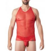 Lookme Malibu 2 Sheer V Neck Tank Top T Shirt Red 92-76