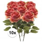 Bellatio flowers & plants 10x Roze roos kunstbloem Simone 45 cm