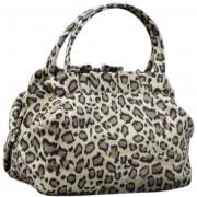 Duola Leopardo de lienzo Floral flor leopardo Print cremallera compras Bolso bolsos de hombro de mujer
