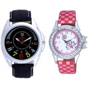 Classical Black Round Dial And Pink Flowers Design Couple Casual Analogue Wrist Watch By Vivah Mart