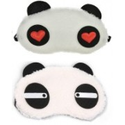 Jonty Straight Red Heart Panda Travel Sleep Cover Blindfold (Pack of 2) Eye Shade(White)