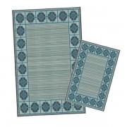Korhani Peguis Outdoorteppich-Set 160x213 cm + 80x112 cm Blau Mehrfarbig
