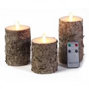 Anna's Collection Kaarsen set 3 berkenhout LED stompkaarsen met afstandsbediening - LED kaarsen