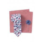 Original Penguin Mahan Floral Tie Pocket Square Lapel Pin Set WHITE
