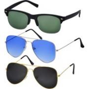Freny Exim Clubmaster Sunglasses(Black, Green, Blue)