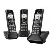 Gigaset A420 Trio - Téléphone sans fil avec ID d'appelant - DECTGAP - noir + 2 combinés supplémentaires