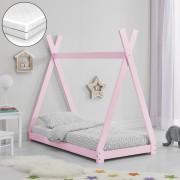 [en.casa]® Gyermekágy matraccal, indián sátor formájú, fenyőfa, Rózsaszín, 140x70cm