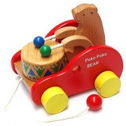 Frealm Bear Knock the Drum Walk-A-Long Wooden Push and Pull Toy for Baby Toddlers Kids