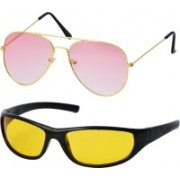 Freny Exim Aviator Sunglasses(Yellow, Pink)