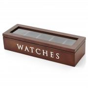 Warren Asher Braune Holz Uhrenbox - 5 Uhren