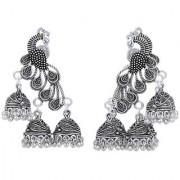 Desire Collection Peacock Design German Silver Earrings Oxidised Silver Plated Jhumka Jhumki Earrings For Girls Women