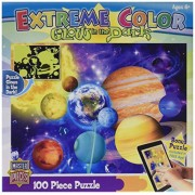 MasterPieces Puzzle Company Extreme Color Glow-In-The-Dark Solar System Jigsaw Puzzle (100-Piece), A