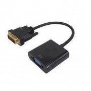 Cablu convertor DVI-D Dual Link 24+1 tata la VGA 15 pini mama negru 15cm