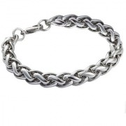 Men Style 6 mm Thickness And 9 inch Long High quality Rope Silver Stainless Steel Round Bracelet For Men And Boys