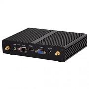 HUNSN Fanless Mini PC,Desktop Computer,with Windows 10 Pro/Linux Ubuntu Support,Intel Core I3 4020Y,(Black), BM05,[VGA/HDMI/LAN/4USB3.0/2USB2.0/WiFi],(NO RAM/64G SSD)