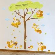 GUOXIN12 Ardilla Casa de Dibujos Animados Etiqueta de La Pared rbol Grande Ardilla Feliz Recogiendo Nueces de Pino Niños Habitación Dormitorio Decoración Calcomanías autoadhesivas