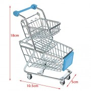 MagiDeal Kids Children Pretend Play Mini Double Tier Shopping Entertainment Fun Cart Trolley Home Room Office Decor Toy Gift Sky Blue