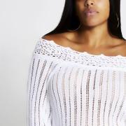 river island Womens Plus Size White crochet off the shoulder jumper (18)