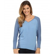 Vince Camuto V-Neck Mixed Media Saturday Shirt Chambray Heather