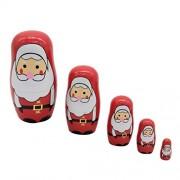 NF&E 5 Pieces Christmas Santa Claus Russian Nesting Dolls Wooden Babushka Matryoshka Dolls Toy Gift Home Display Decor