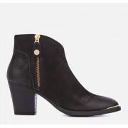 Steve Madden Women's Francy Nubuck Heeled Ankle Boots - Black - UK 3 - Black