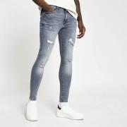 River Island Mens Blue Ollie spray on distressed skinny jeans (28L)