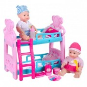 Set de joaca cu doua papusi bebe si pat supraetajat