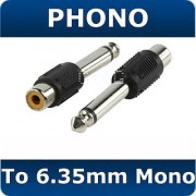 Phono RCA to 6.35mm MONO Jack Audio Cable Adapter