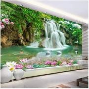 xbwy Custom Photo Mural Wallpaper Hd Waterfall River White Swan Green Tree Nature Pastoral Landscape 3D Mural-200X140Cm