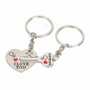 Heart Shaped Valentine Day Keychain Favors Wedding Souvenirs Men and Women Key Ring Gifts - Silver