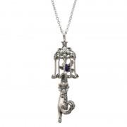SS シードパール&ラピスラズリネコと鳥かごペンダント【QVC】40代・50代レディースファッション