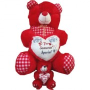Suraj baby soft toy just for you and i love u heart teddy combo set with checks 48cm