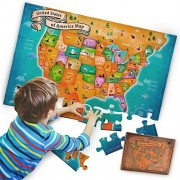 US Floor Map Puzzle - Best USA Puzzle Map for Kids and Adults - A New Map of Wonders with Easy-Clean Surface - Promotes Hand-Eye Coordination and Problem Solving Skills