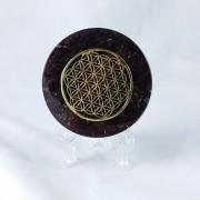 Floarea vieții - Disc orgonit terapeutic realizat cu granat, cuarț tibetan cu dublă terminație, fenacit, rodizit, cuarț rutilat, cuarț fumuriu, hematit, turmalină neagra