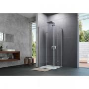 Huppe Design pure 2 delige vouwdeur sft rechts 90x200cm matzilver antiplaque glas 8p0910087322