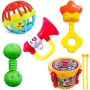 Colorful Baby Concert Set Rattles 5 PCS Teether Drum Set Rattle Set Toddlers(COLORS design May Vary)